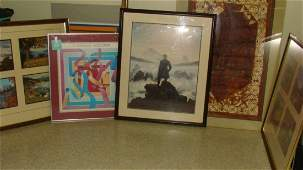 5 VARIOUS FRAMED PIECES OF ART WORK
