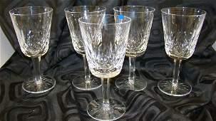 SET OF 5 WATERFORD CRYSTAL WATER GOBLETSLISMORE