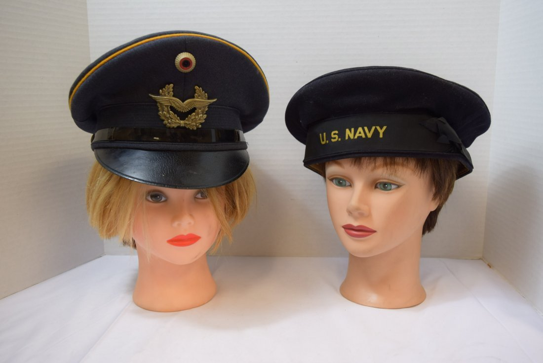 2 MILITARY HATS - GERMAN & AMERICAN