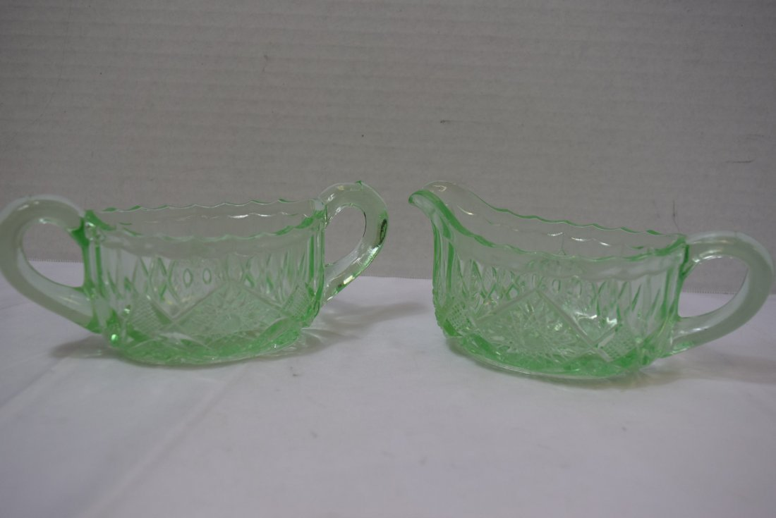 VINTAGE PRESSED GLASS CLEAR LIGHT GREEN SUGAR AND