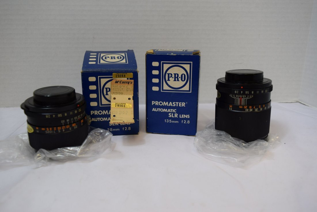 2 PROMASTER AUTOMATIC SLR LENS 28MM & 135MM NEW IN