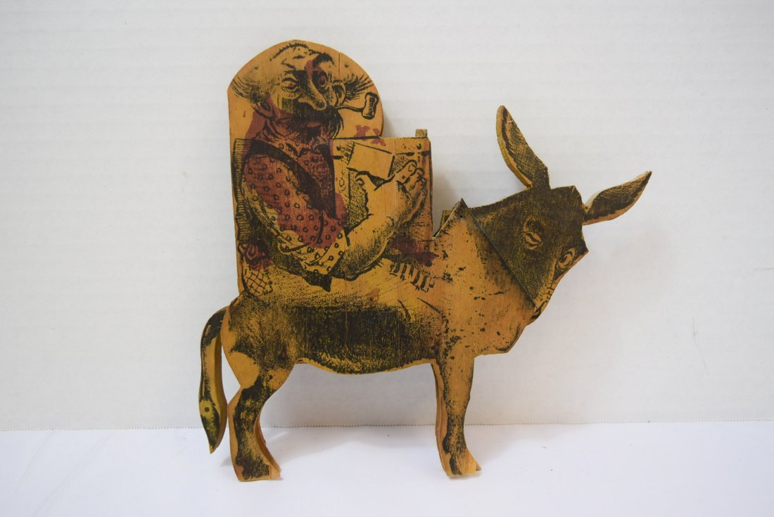 ANTIQUE WOODEN NOVELTY PIECE; BURRO AND MAN