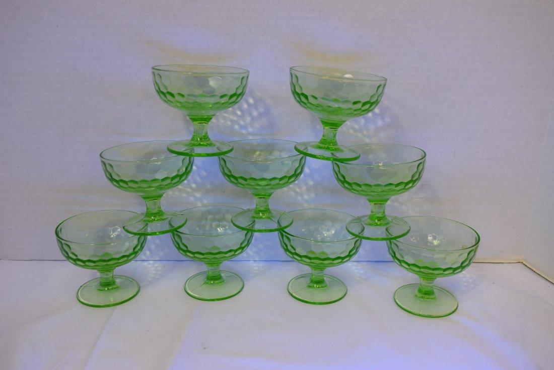 9 VINTAGE FEDERAL DEPRESSION GLASS DESSERT CUPS