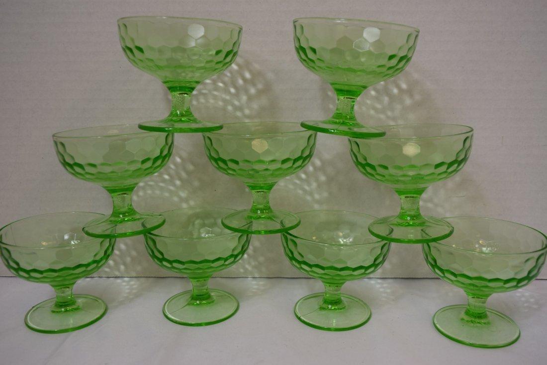 9 VINTAGE FEDERAL DEPRESSION GLASS DESSERT CUPS - 2
