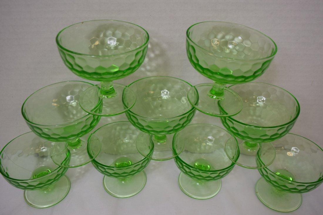 9 VINTAGE FEDERAL DEPRESSION GLASS DESSERT CUPS - 4