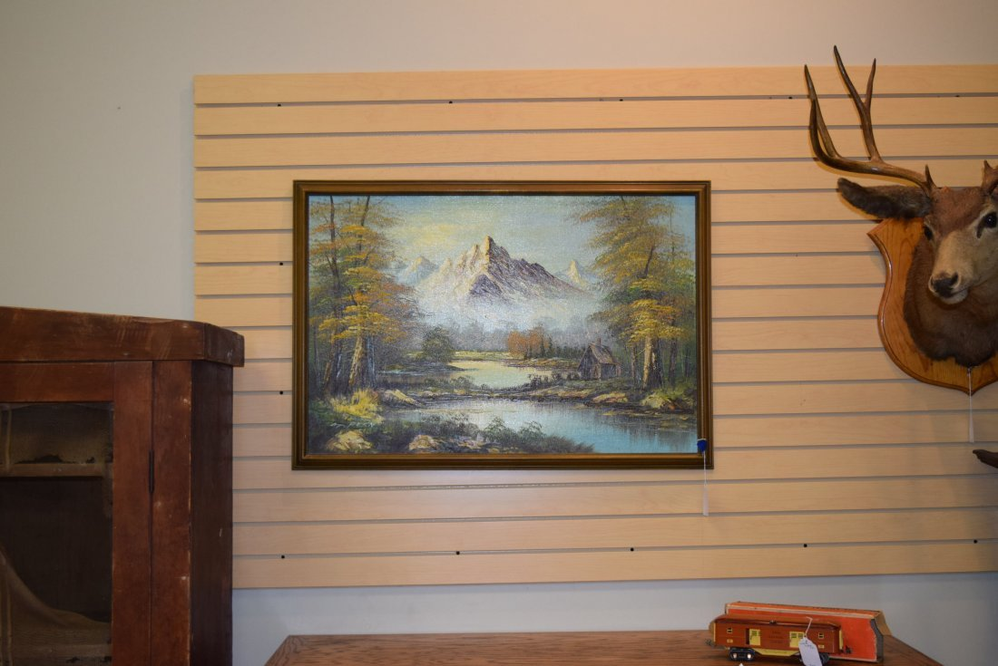 LARGE OIL PAINTING OF CABIN AND MOUNTAIN SCENE