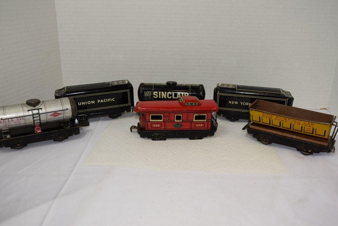 6 MARX TIN LITHO ROLLING TRAIN CARS