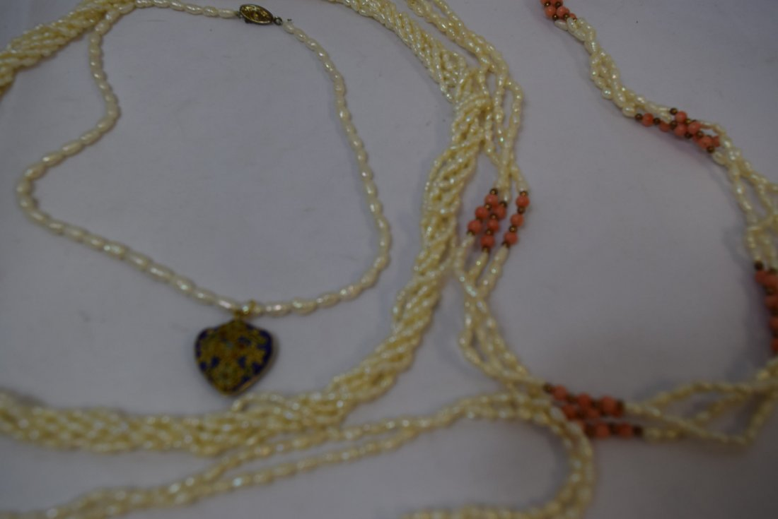 VARIOUS PEARL LIKE NECKLACES AND ONE JADE LIKE NEC - 2