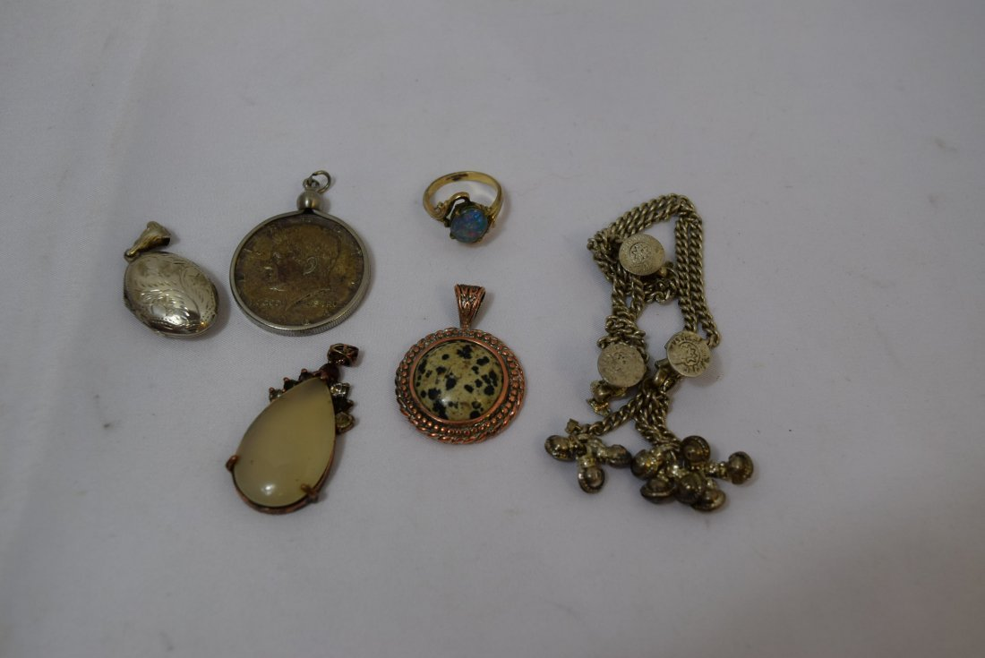 WATCH FOB CHAIN; 4 PENDANTS AND A RING