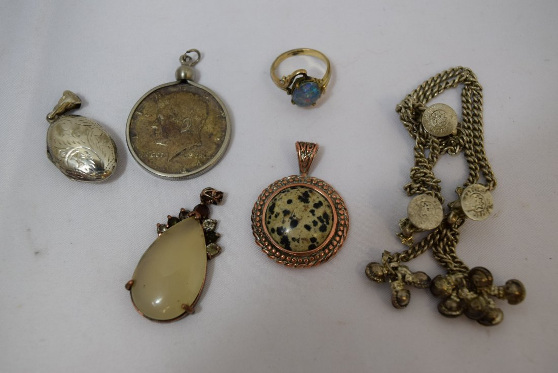 WATCH FOB CHAIN; 4 PENDANTS AND A RING - 2