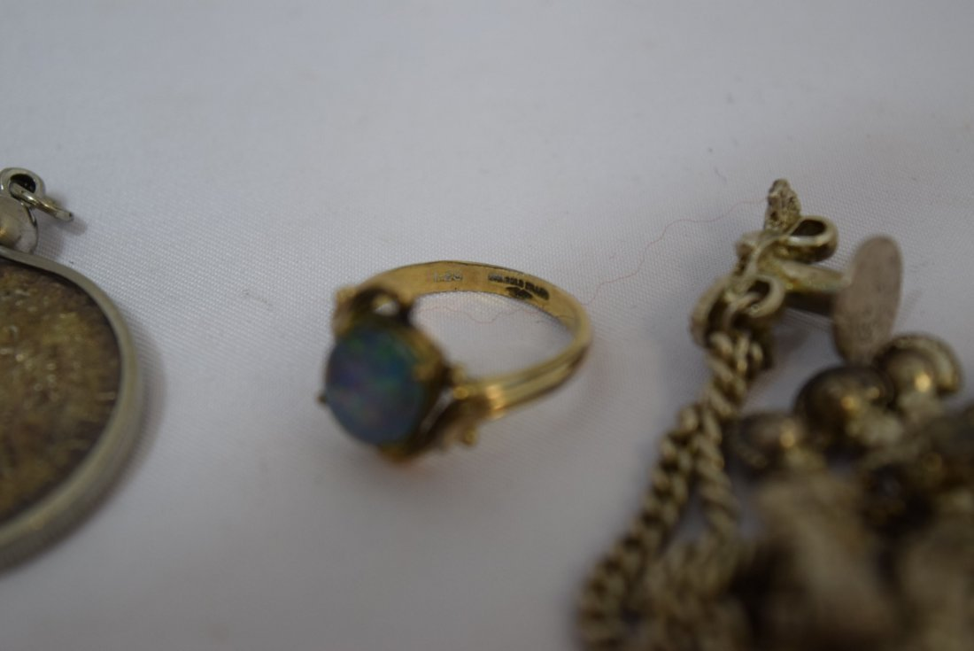 WATCH FOB CHAIN; 4 PENDANTS AND A RING - 3
