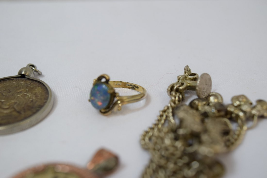 WATCH FOB CHAIN; 4 PENDANTS AND A RING - 4