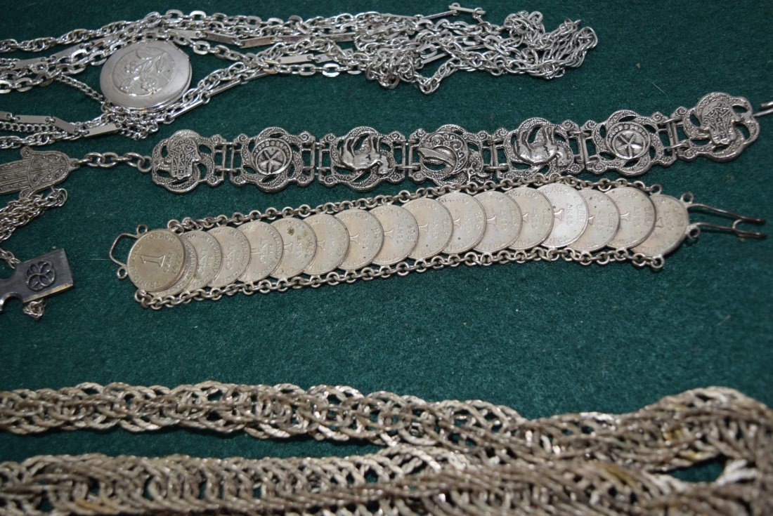 TRAY LOT COSTUME SILVER TONED JEWERLY - 4
