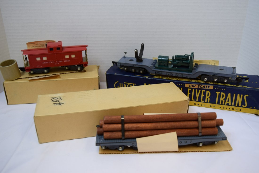 3 AMERICAN FLYER ROLLING CARS 3/16''