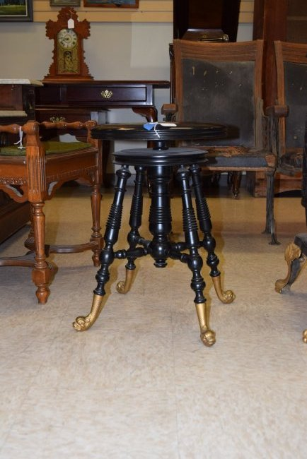 OLD BLACK SPINDLE LEG FOOTED PIANO STOOL