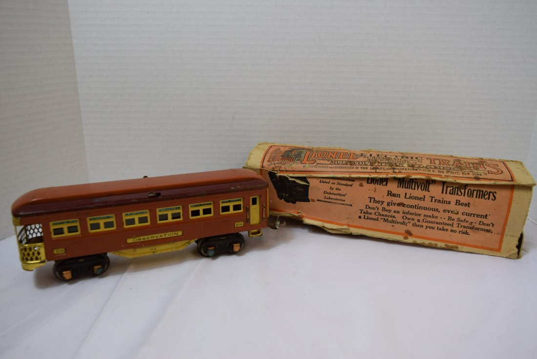 VINTAGE PREWAR LIONEL TINPLATE OBSERVATION CAR 614