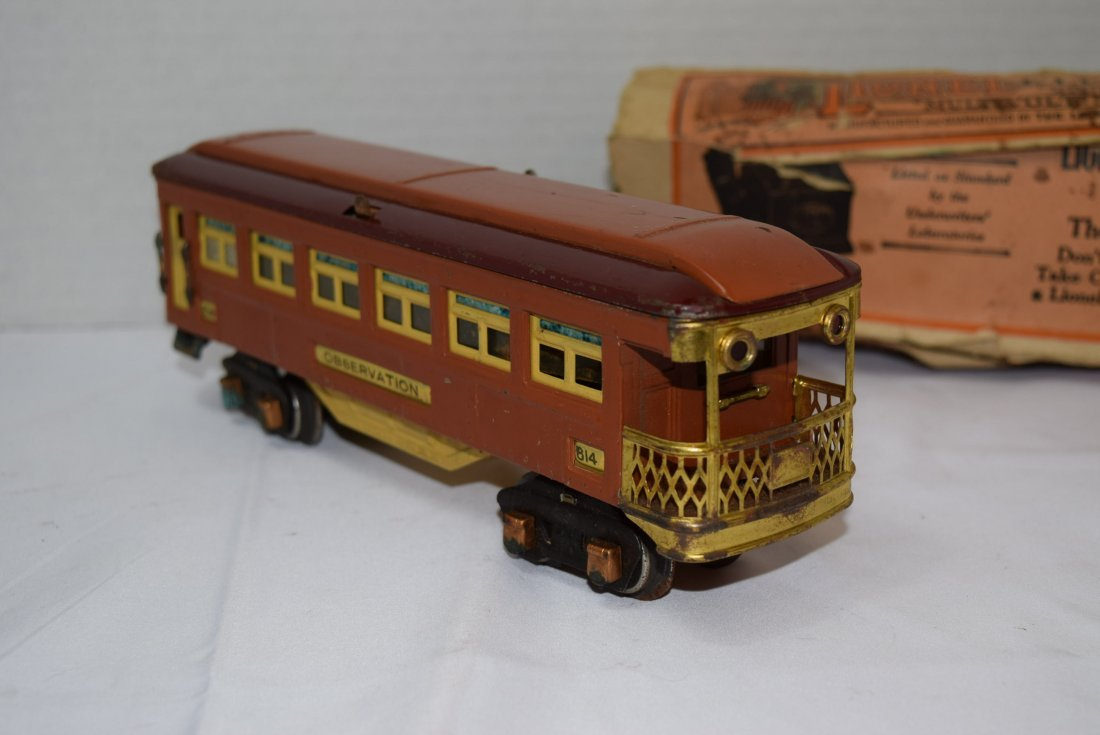 VINTAGE PREWAR LIONEL TINPLATE OBSERVATION CAR 614 - 3