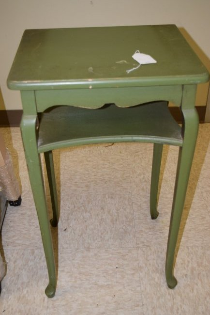 GREEN PAINTED WOOD PLANT STAND