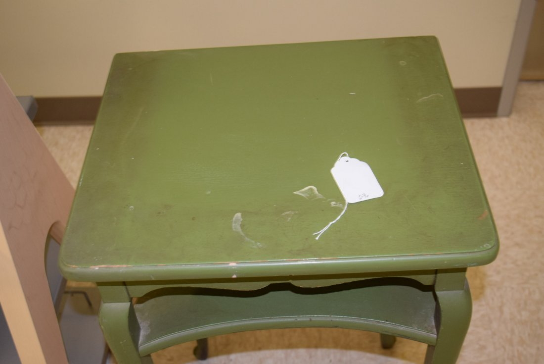 GREEN PAINTED WOOD PLANT STAND - 2