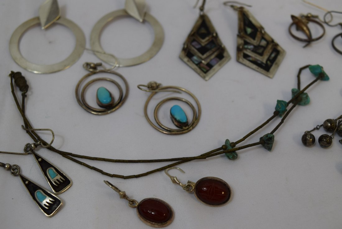 7 PAIRS OF VARIOUS STERLING EARRINGS AND 1 NECKLAC - 4