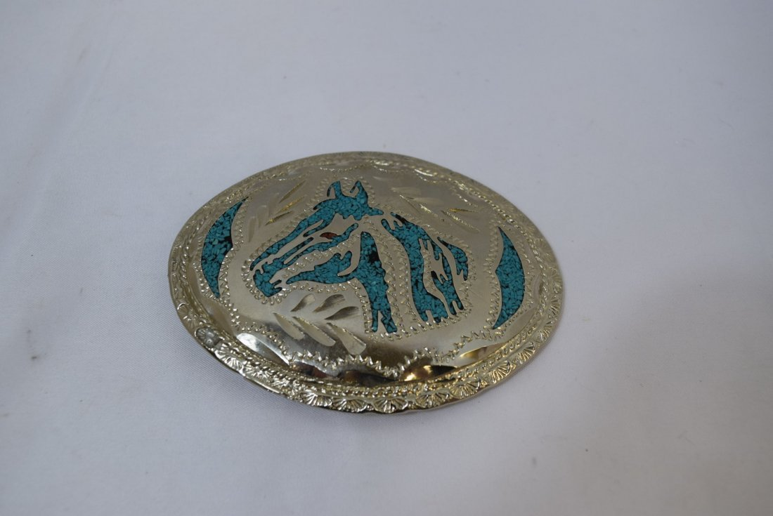 WESTERN DESIGN BELT BUCKLE; SILVER AND TURQUOISE C