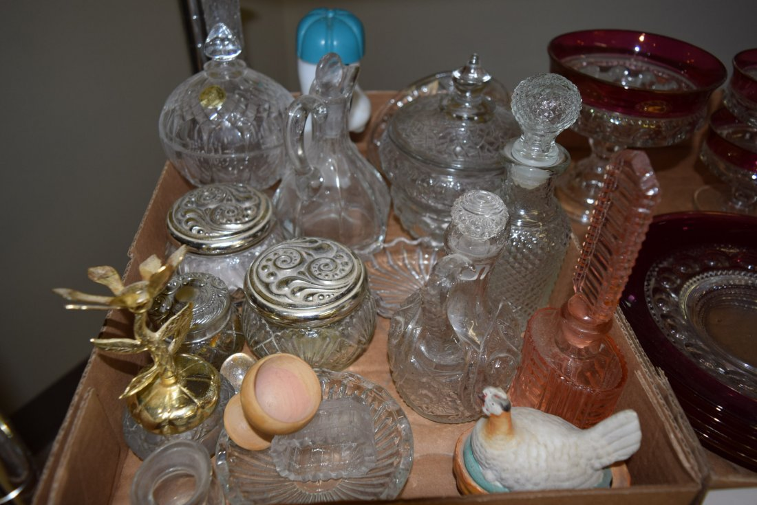 COLLECTION OF CLEAR AND CRANBERRY GLASS AND CLEAR - 2
