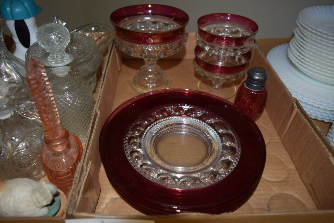 COLLECTION OF CLEAR AND CRANBERRY GLASS AND CLEAR - 3