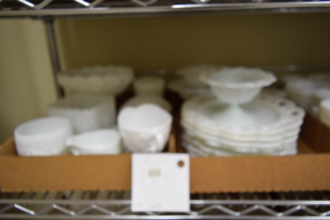 LARGE LOT OF MILK GLASS PLATES AND BOWLS