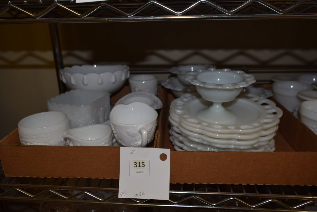 LARGE LOT OF MILK GLASS PLATES AND BOWLS - 2