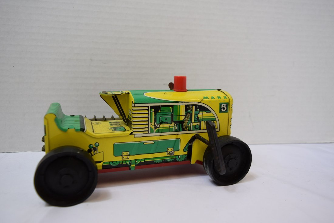VINTAGE MARX #5 WIND UP LITHO TIN TRACTOR TOY