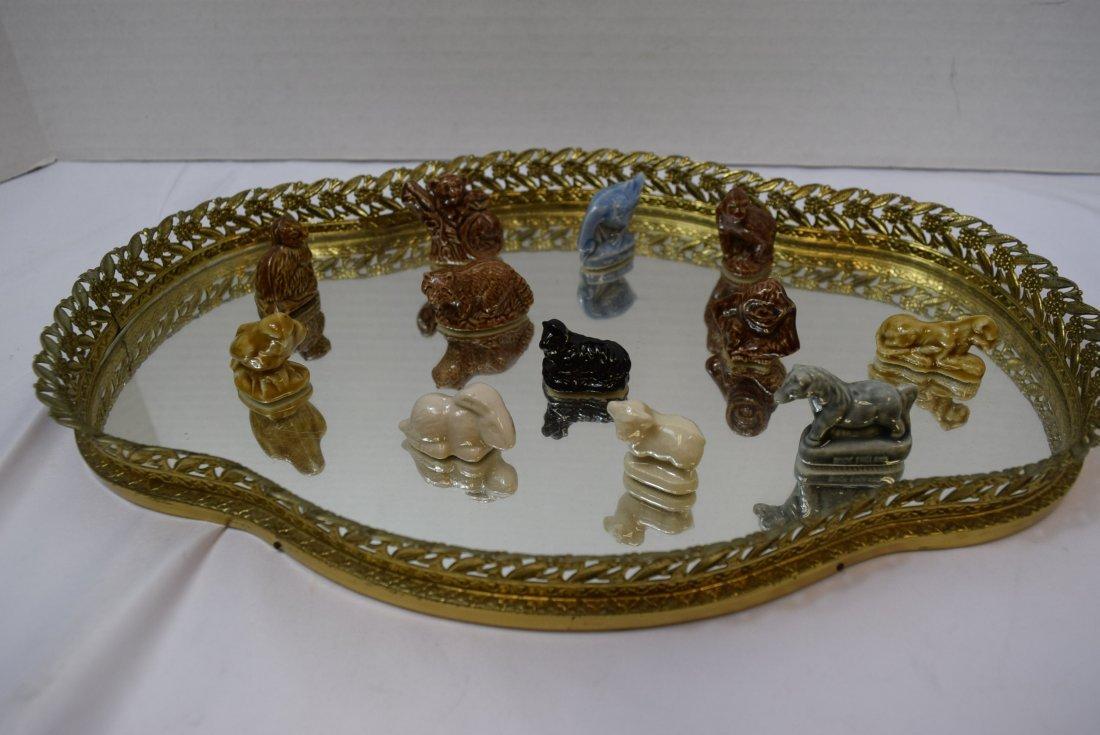 12 WADE ANIMALS ON GOLD FILIGREE VANITY MIRROR