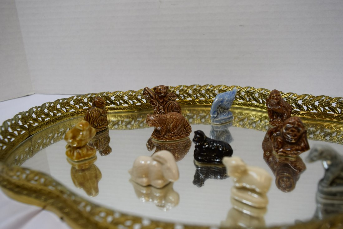 12 WADE ANIMALS ON GOLD FILIGREE VANITY MIRROR - 2