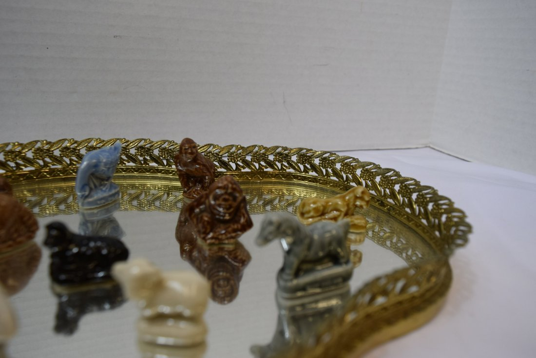 12 WADE ANIMALS ON GOLD FILIGREE VANITY MIRROR - 3