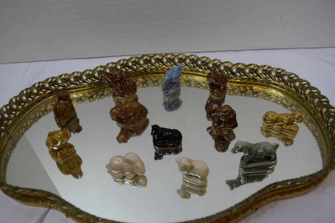 12 WADE ANIMALS ON GOLD FILIGREE VANITY MIRROR - 4