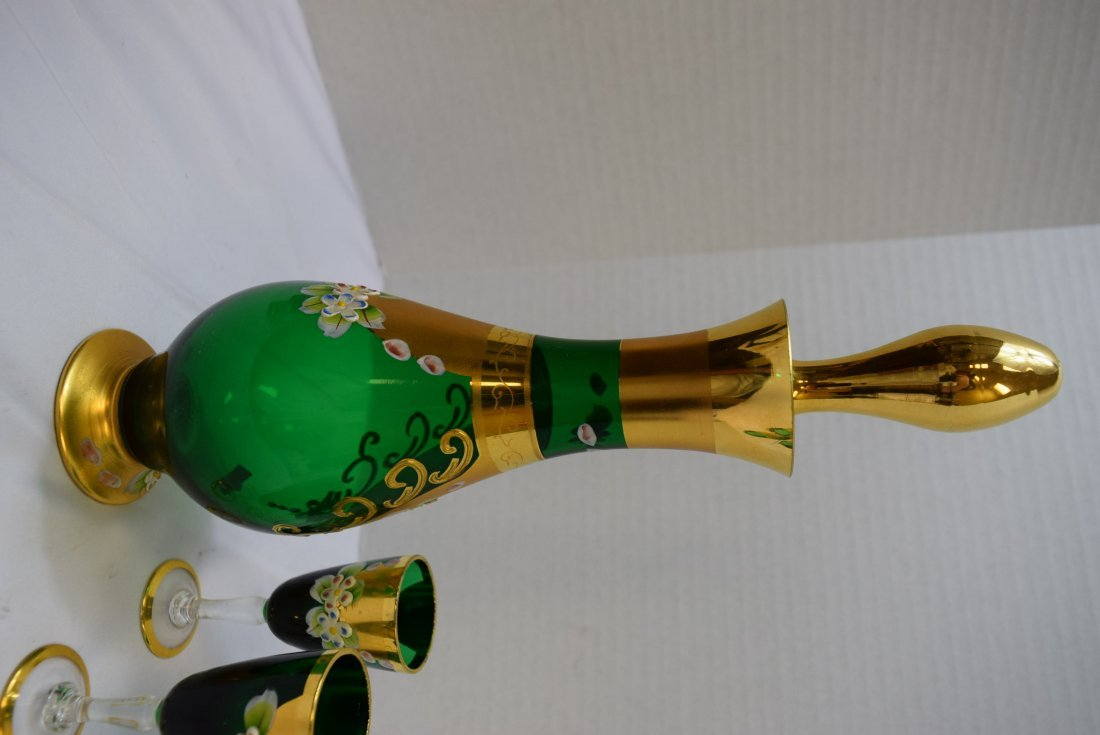 SEYEI VICTORIAN GLASS  GREEN & GOLD DECANTER WITH - 6