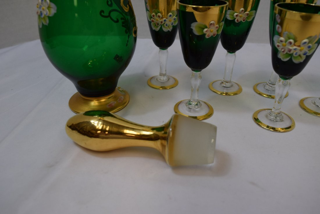 SEYEI VICTORIAN GLASS  GREEN & GOLD DECANTER WITH - 7
