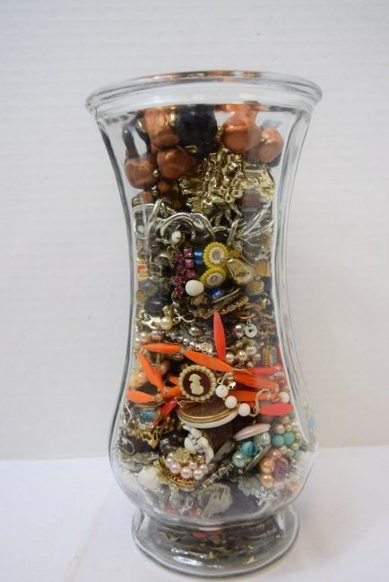 VASE FULL OF COSTUME JEWERLY