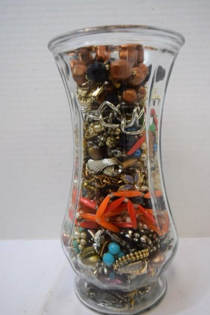 VASE FULL OF COSTUME JEWERLY - 2