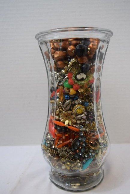 VASE FULL OF COSTUME JEWERLY - 3