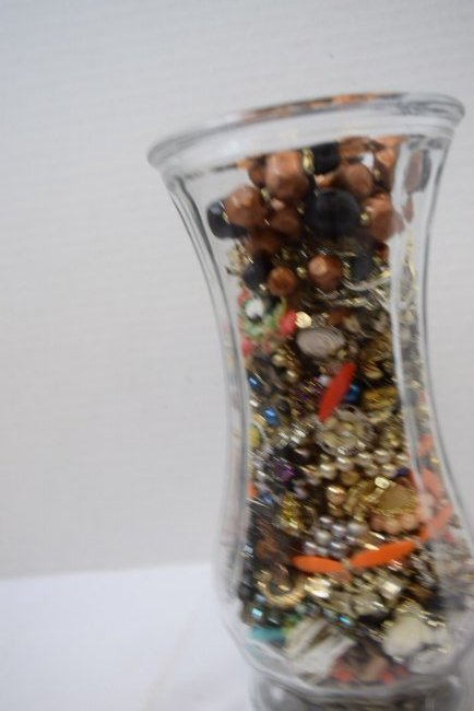 VASE FULL OF COSTUME JEWERLY - 4