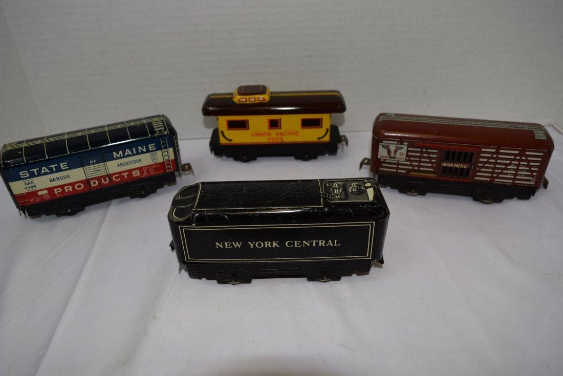 4 MARX TIN LITHO ROLLING TRAIN CARS