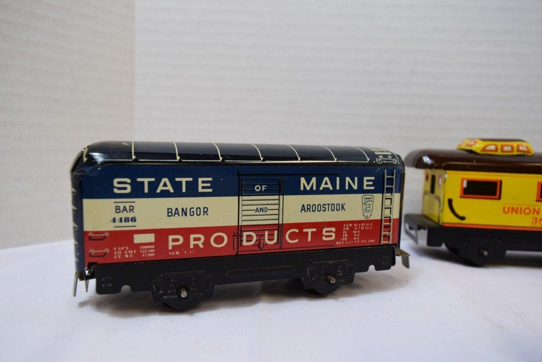 4 MARX TIN LITHO ROLLING TRAIN CARS - 2