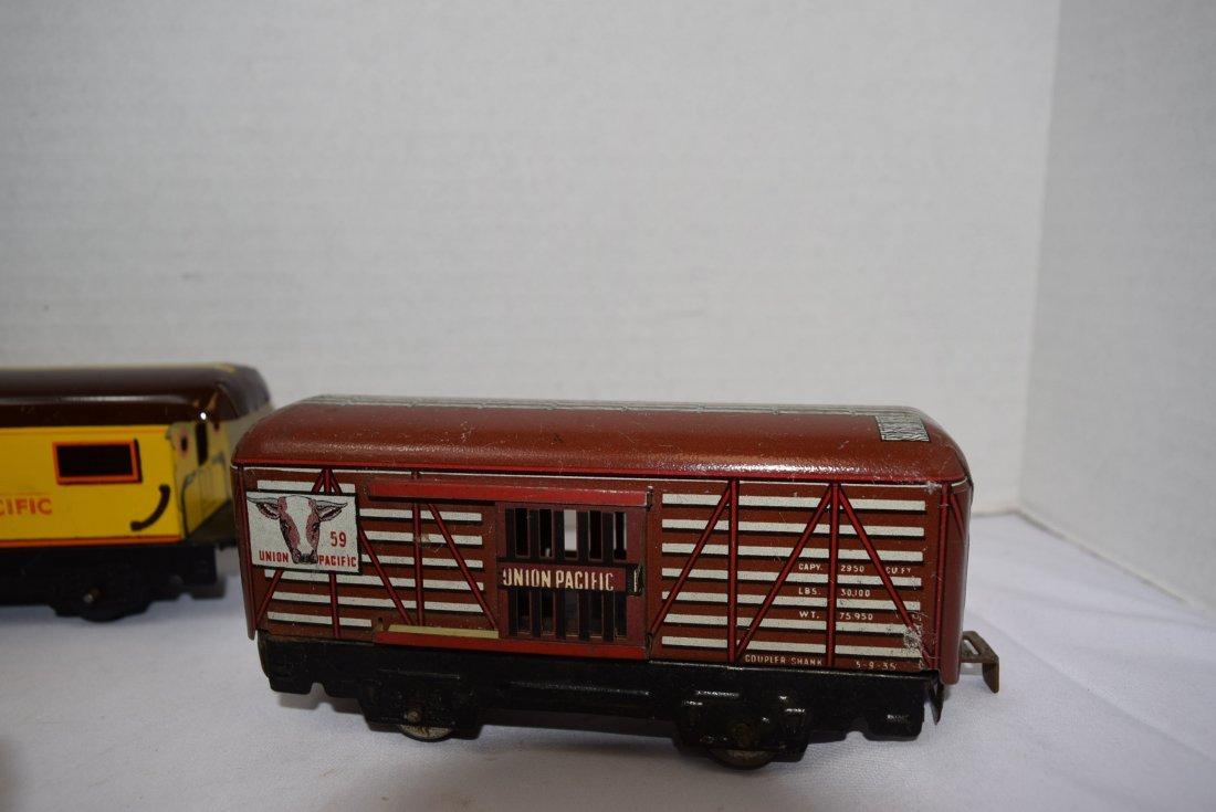 4 MARX TIN LITHO ROLLING TRAIN CARS - 4