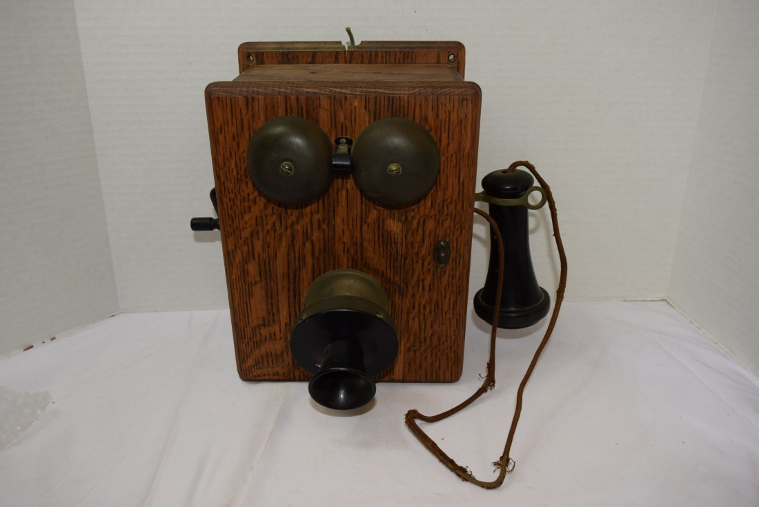 ANTIQUE WOOD CRANK BOX PHONE CONVERTED TO ROTARY P