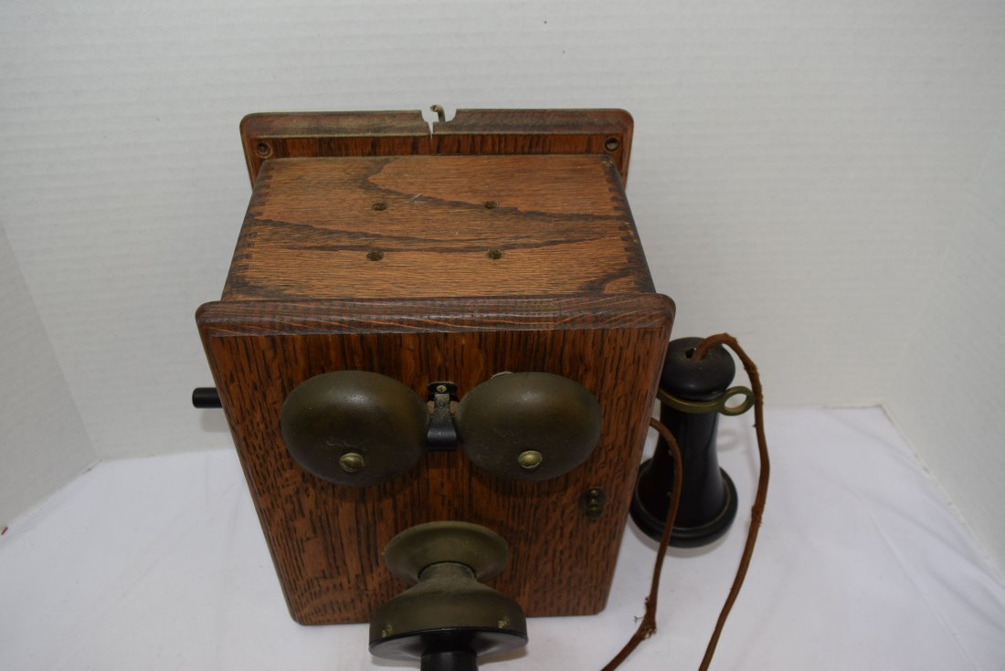 ANTIQUE WOOD CRANK BOX PHONE CONVERTED TO ROTARY P - 2
