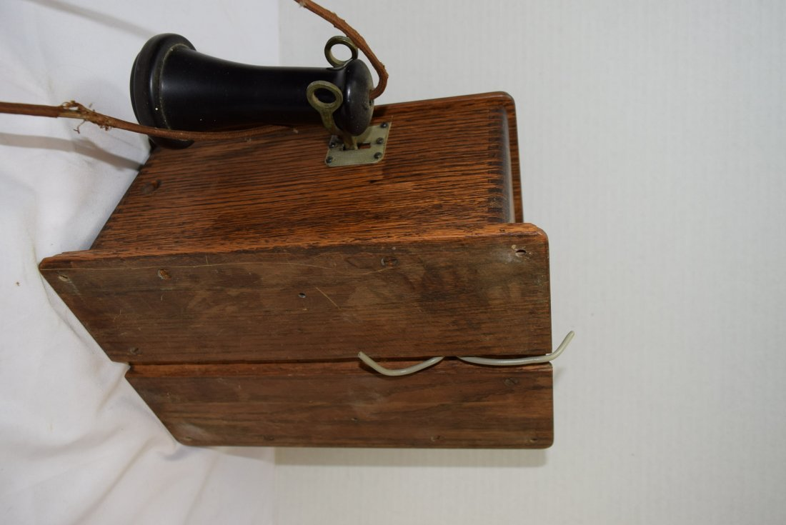 ANTIQUE WOOD CRANK BOX PHONE CONVERTED TO ROTARY P - 5