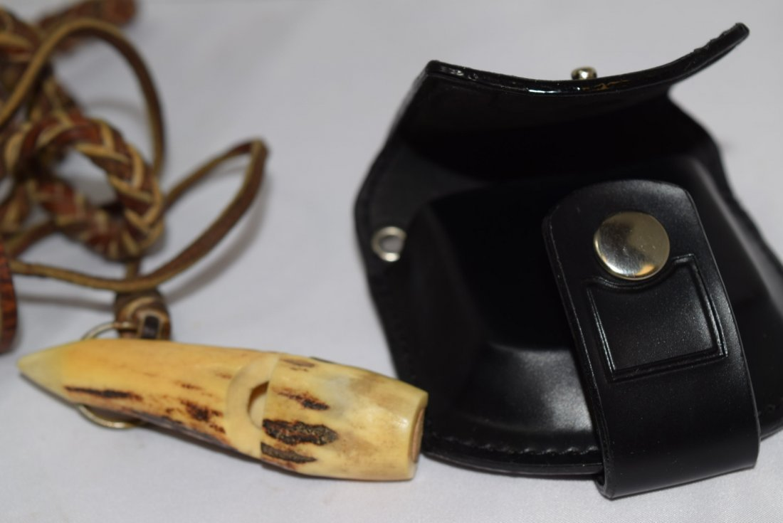 HANDMADE ANTLER BONE WHISTLE ON LEATHER STRAP AND - 7