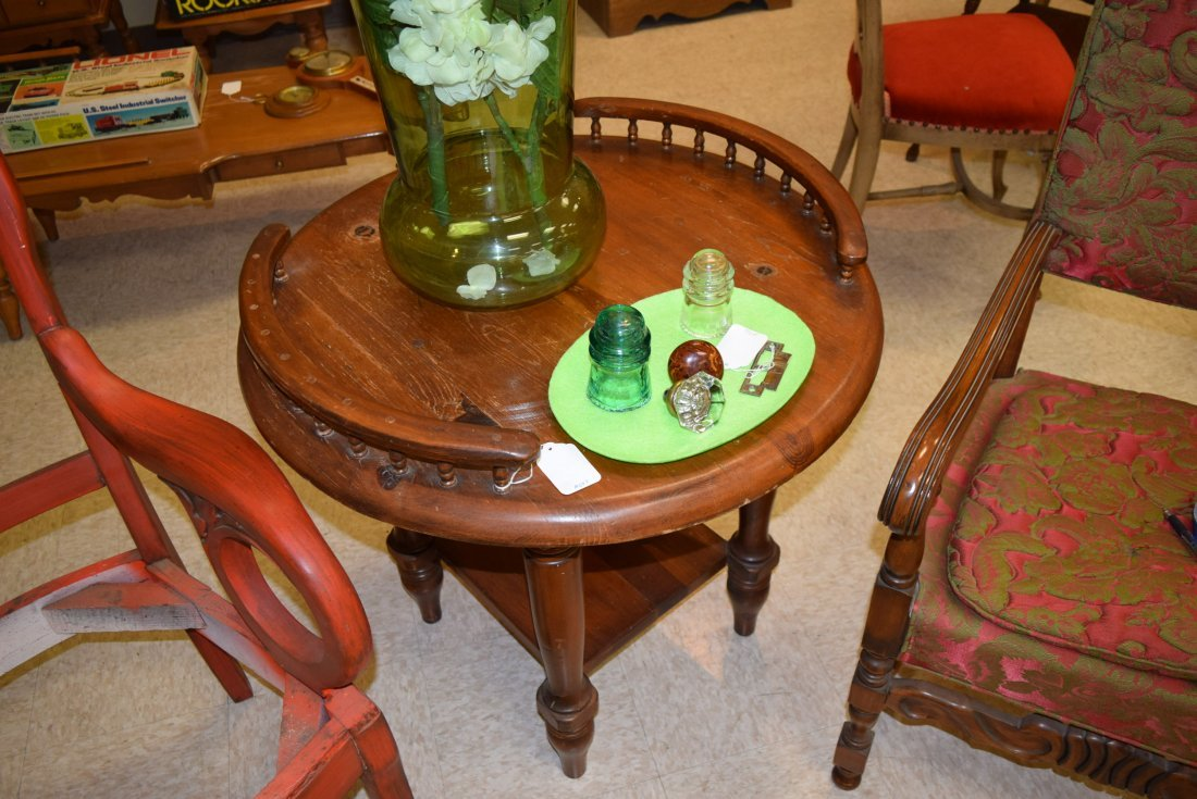 ANTIQUE ROUND TALL END TABLE