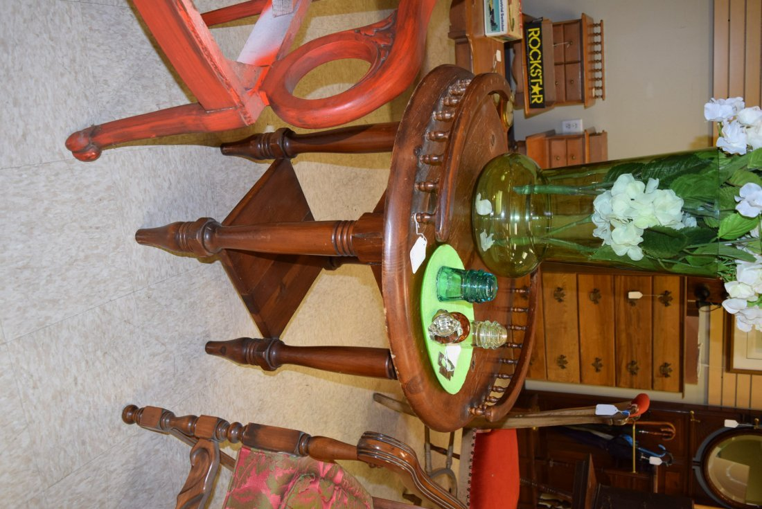 ANTIQUE ROUND TALL END TABLE - 2
