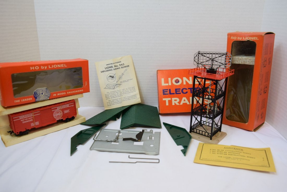 LIONEL HO RADAR ANTENNA; EXPLODING BOX CAR AND EXP